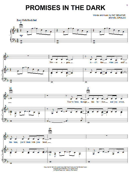 Promises In The Dark (Piano, Vocal & Guitar (Right-Hand Melody))