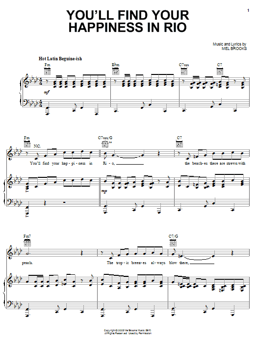 You'll Find Your Happiness In Rio (Piano, Vocal & Guitar (Right-Hand Melody))