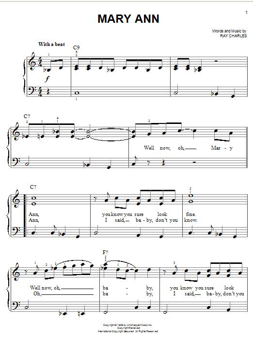 Mary Ann (Easy Piano)