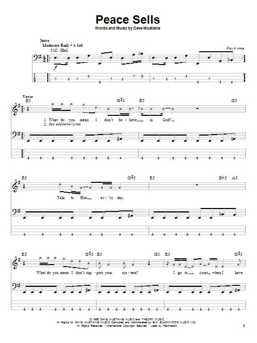 Peace Sells (Bass Guitar Tab)