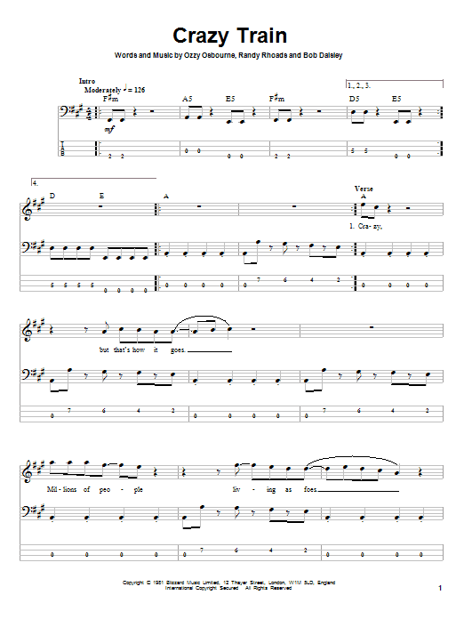 Crazy Train Sheet Music