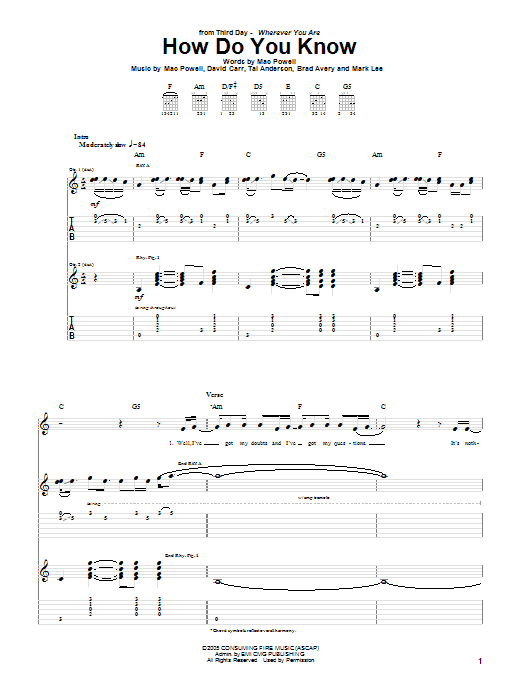 How Do You Know (Guitar Tab)
