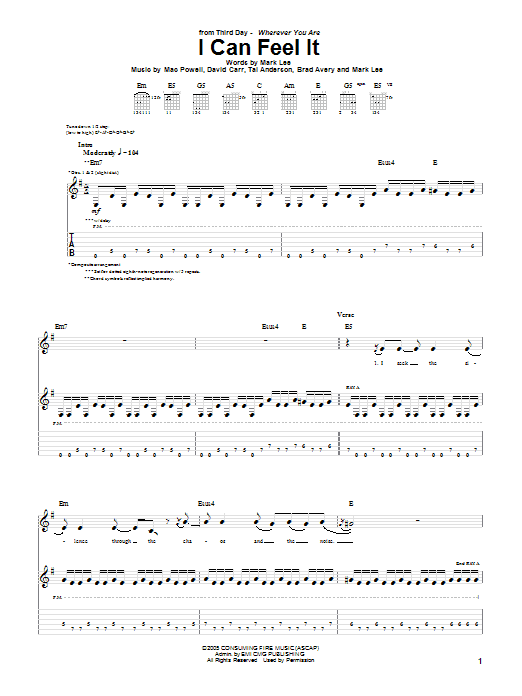 I Can Feel It (Guitar Tab)