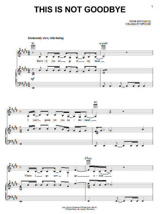 This Is Not Goodbye Sheet Music