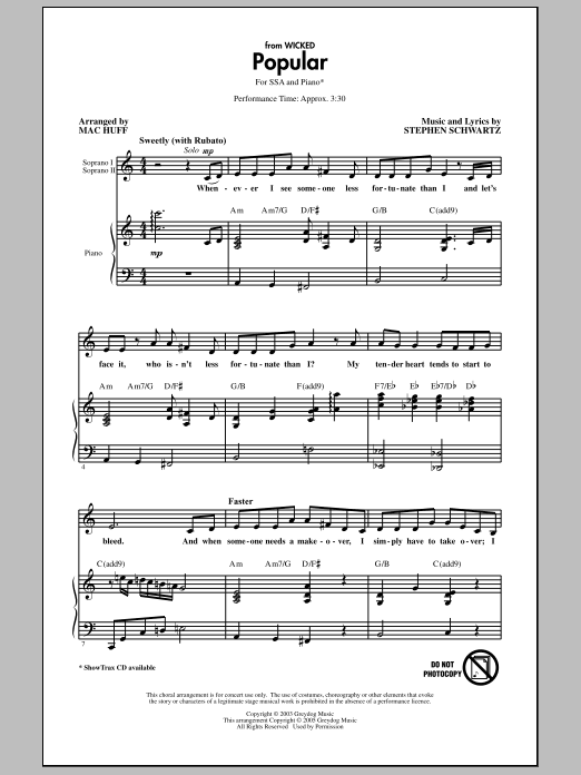 Popular (from Wicked) Sheet Music