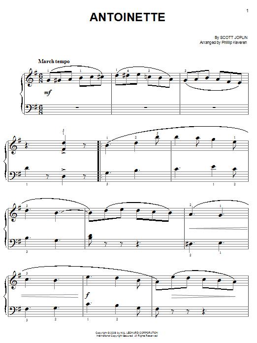 Partition piano Antoinette de Scott Joplin - Piano Facile