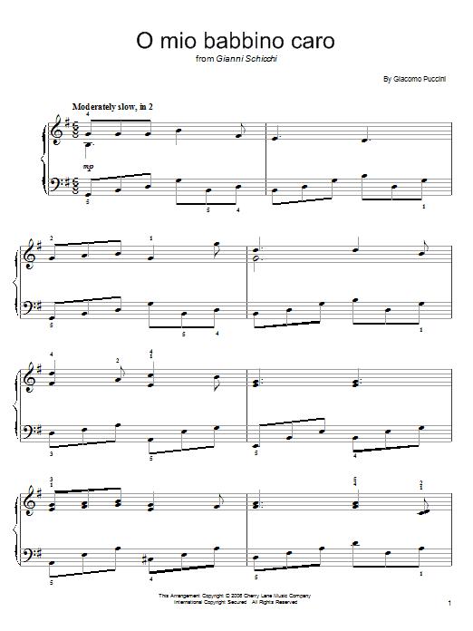 Partition piano O Mio Babbino Caro de Giacomo Puccini - Piano Facile