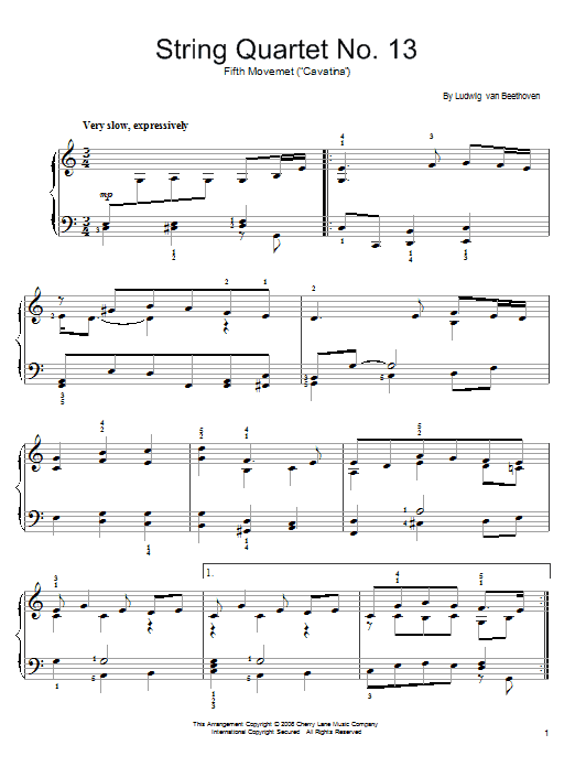 Partition piano Cavatina de Ludwig van Beethoven - Piano Facile