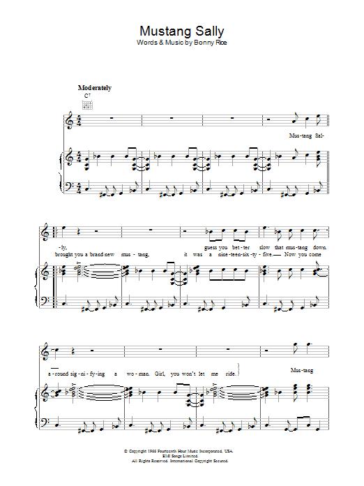 Mustang Sally (Piano, Vocal & Guitar (Right-Hand Melody))