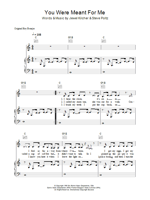 You Were Meant For Me Sheet Music