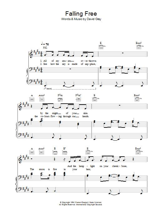 Falling Free (Piano, Vocal & Guitar)