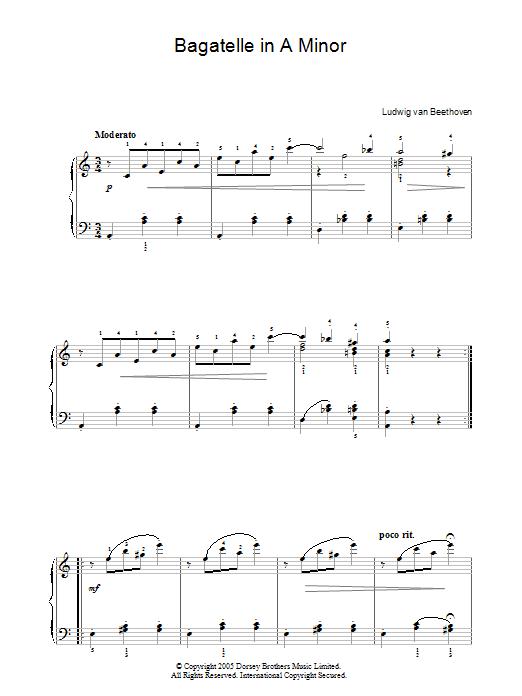 Bagatelle In A Minor (Piano Solo)