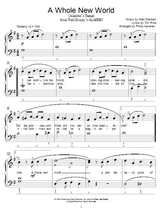 Partition piano A Whole New World (Aladdin's Theme) de Alan Menken - Autre