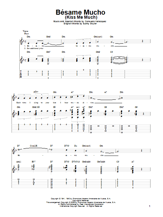 Tablature guitare Besame Mucho (Kiss Me Much) de Consuelo Velazquez - Tablature Guitare