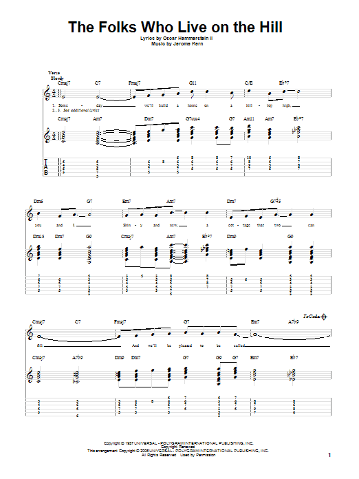 Tablature guitare The Folks Who Live On The Hill de Jerome Kern - Tablature Guitare