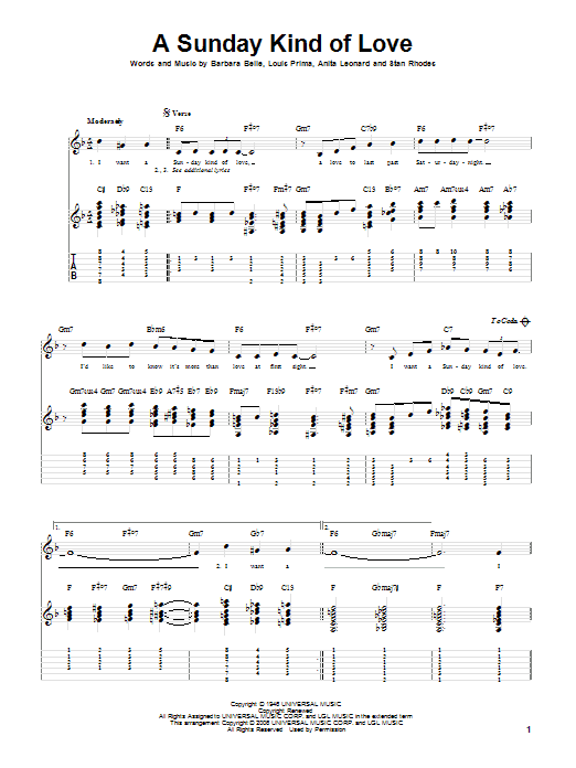 Tablature guitare A Sunday Kind Of Love de Louis Prima - Tablature Guitare