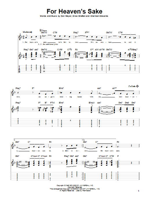 For Heaven's Sake Sheet Music