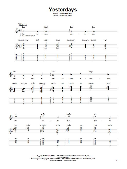 Yesterdays (Guitar Tab)