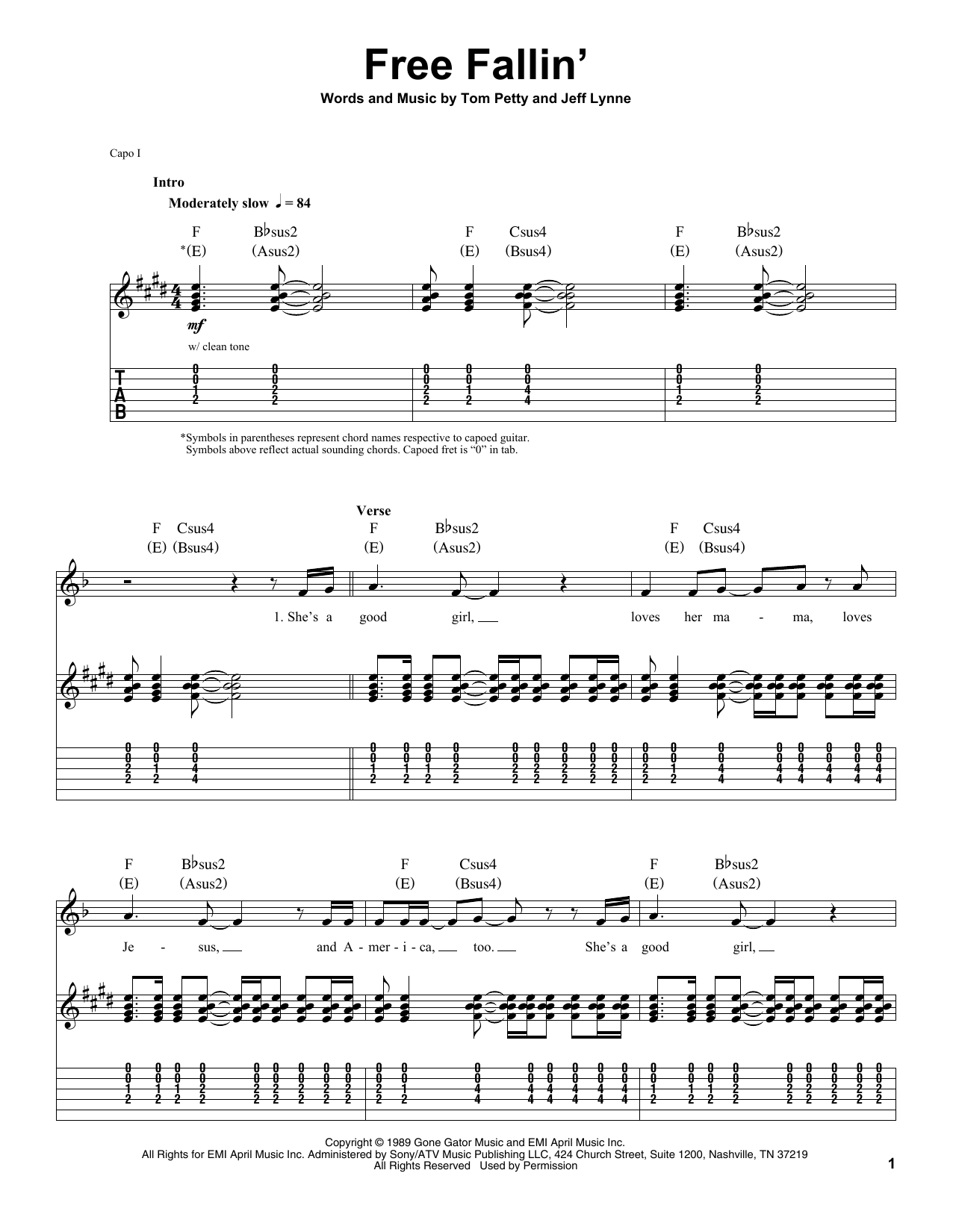 free fallin 39 sheet music tom petty guitar tab single guitar. Black Bedroom Furniture Sets. Home Design Ideas