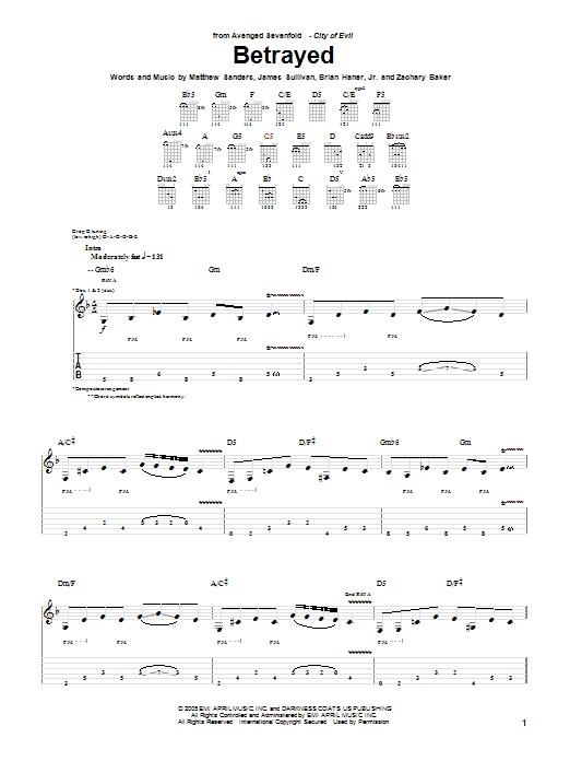 Tablature guitare Betrayed de Avenged Sevenfold - Tablature Guitare