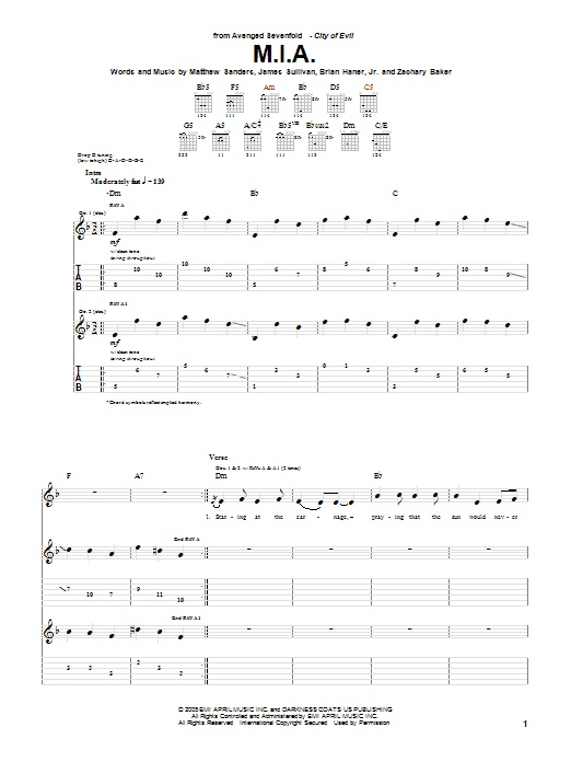 M.I.A. Sheet Music