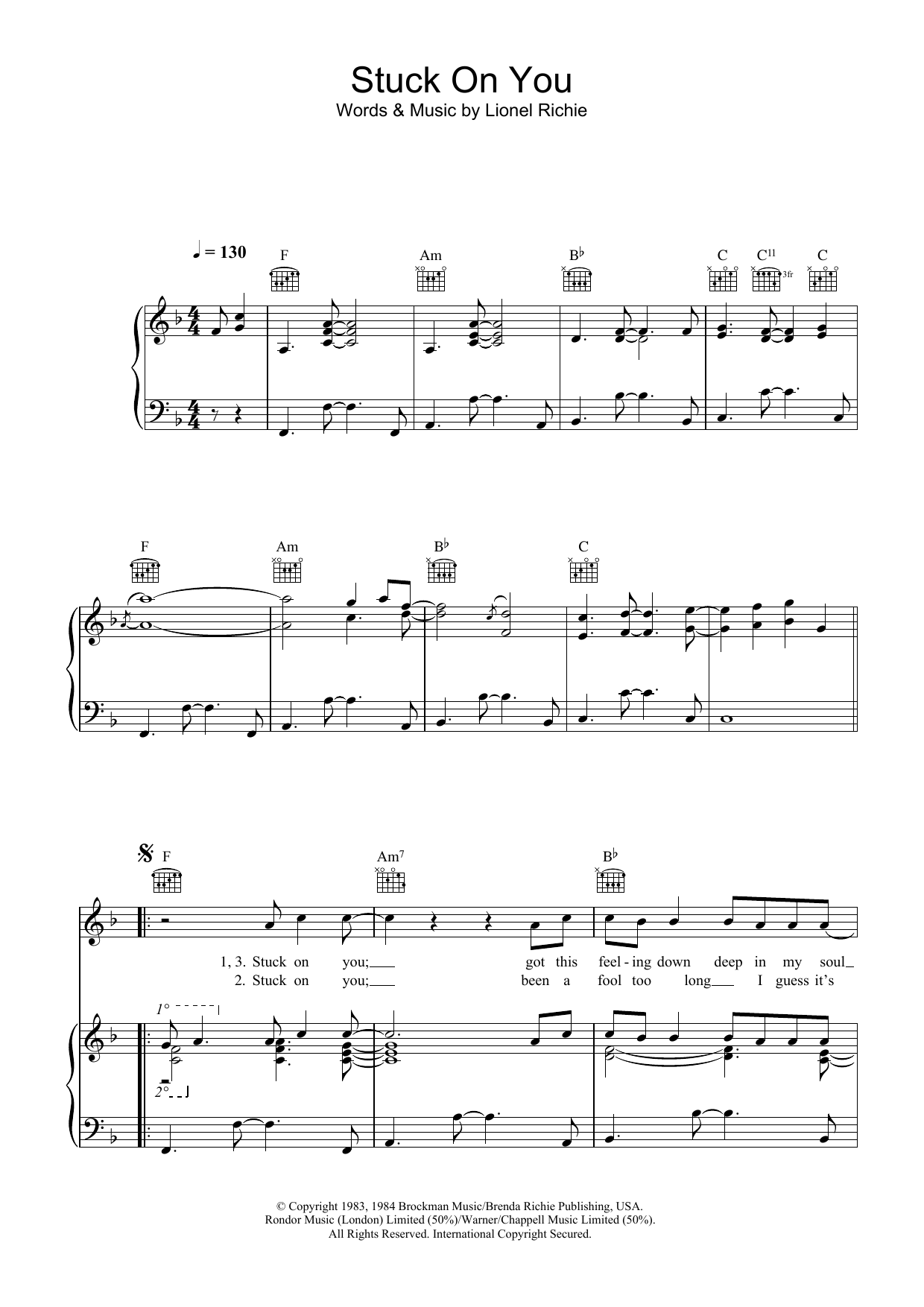 Stuck on you guitar chords