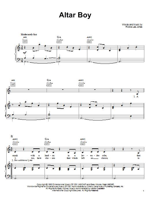 Partition piano Altar Boy de Rickie Lee Jones - Piano Voix Guitare (Mélodie Main Droite)