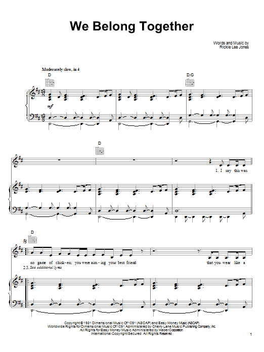 Partition piano We Belong Together de Rickie Lee Jones - Piano Voix Guitare (Mélodie Main Droite)
