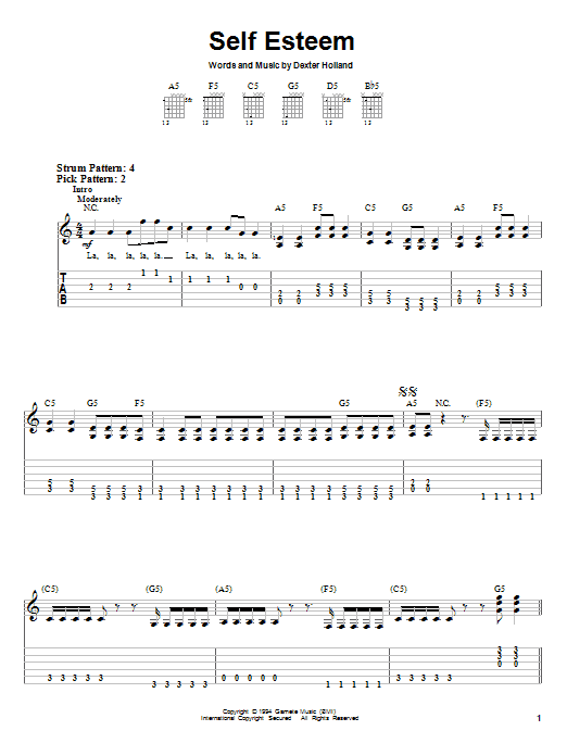 Self Esteem (Easy Guitar Tab)