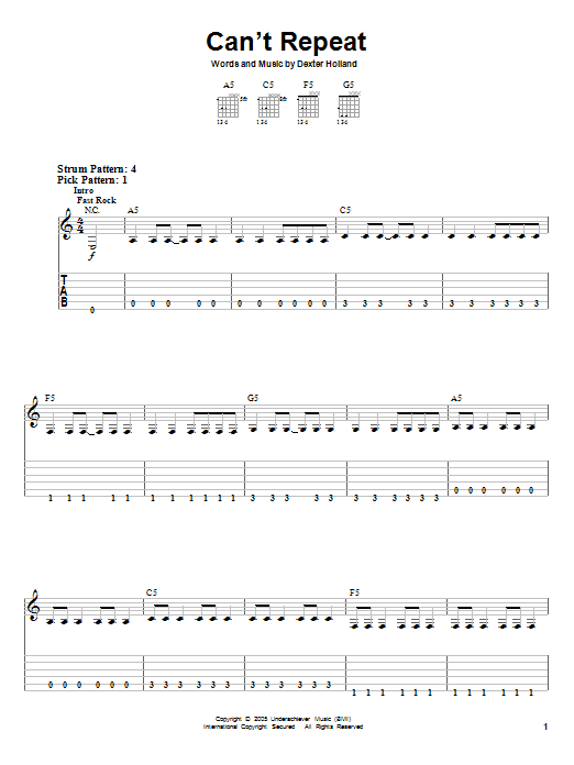 Can't Repeat (Easy Guitar Tab)