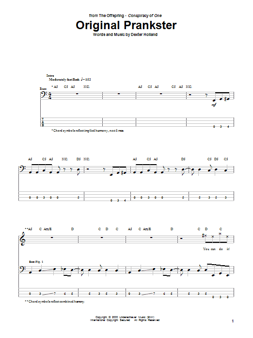 Original Prankster (Bass Guitar Tab)
