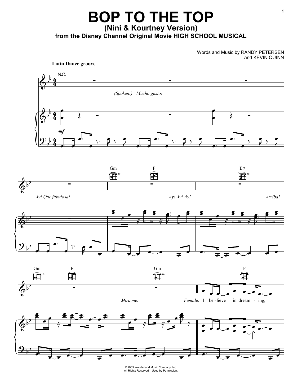 Bop To The Top (from High School Musical) (Piano, Vocal & Guitar (Right-Hand Melody))