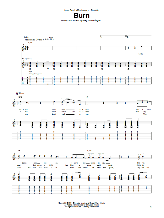 Tablature guitare Burn de Ray LaMontagne - Tablature Guitare