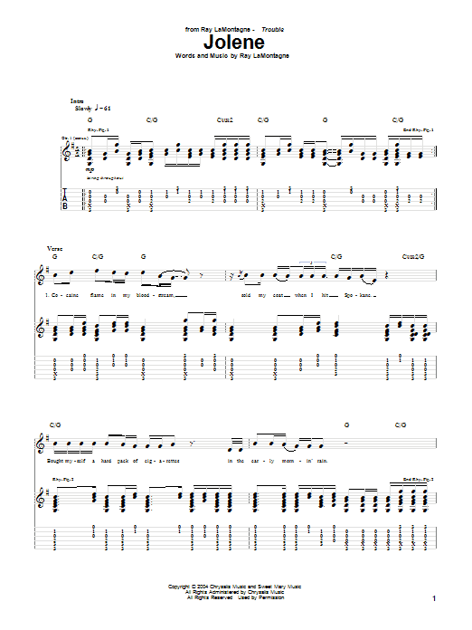 Tablature guitare Jolene de Ray LaMontagne - Tablature Guitare
