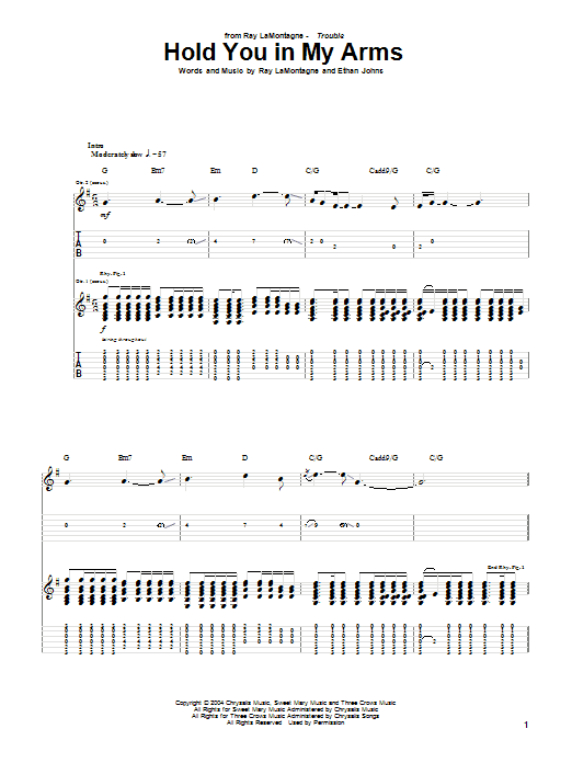 Tablature guitare Hold You In My Arms de Ray LaMontagne - Tablature Guitare