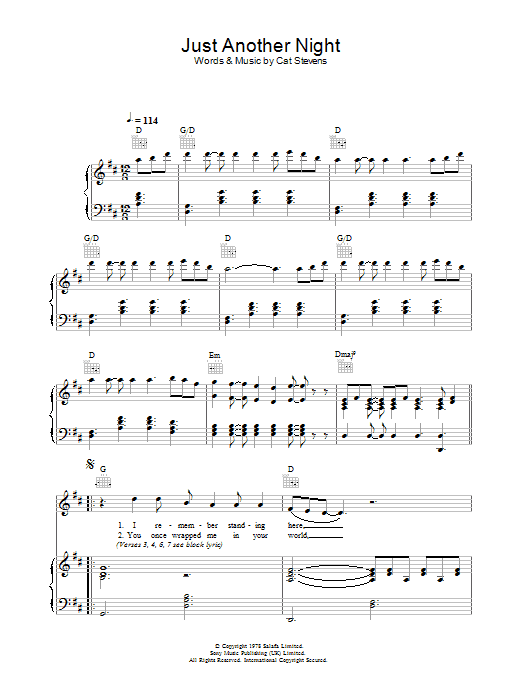 Just Another Night Sheet Music