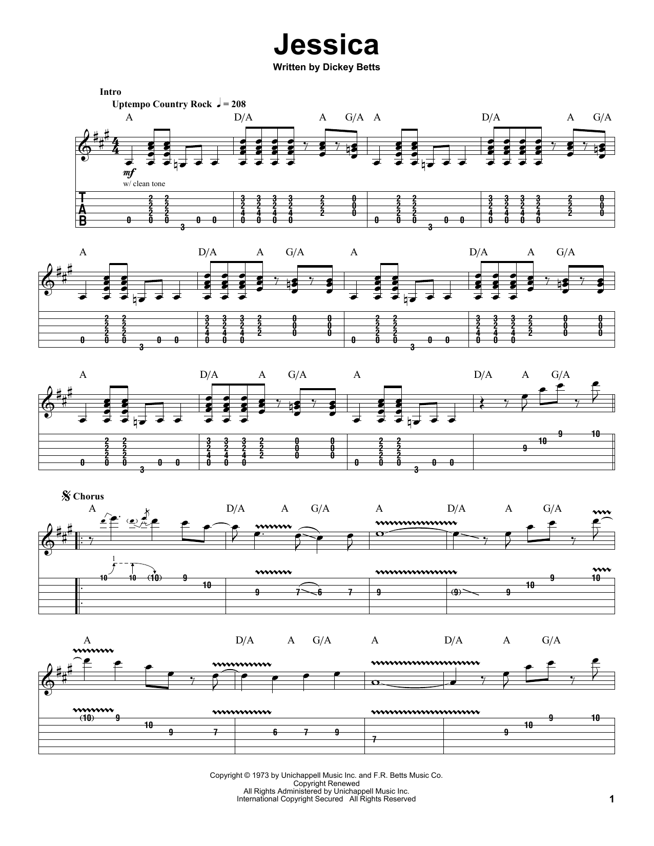 Tablature guitare Jessica de The Allman Brothers Band - Playback Guitare