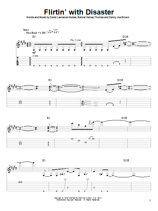 Tablature guitare Flirtin' With Disaster de Molly Hatchet - Playback Guitare