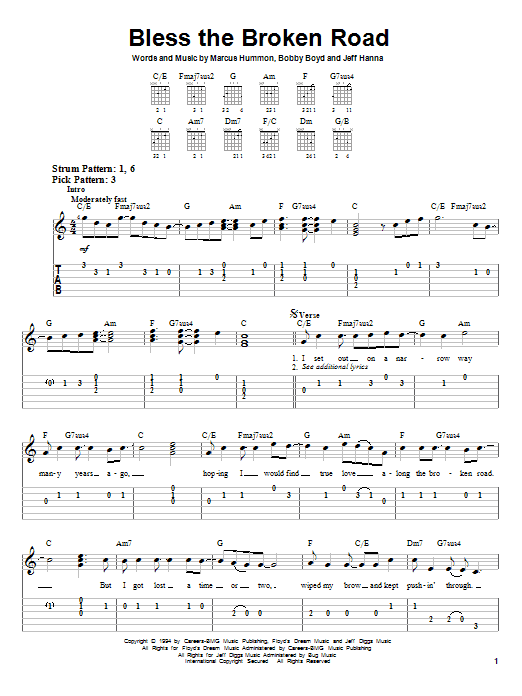 Bless The Broken Road (Easy Guitar Tab)