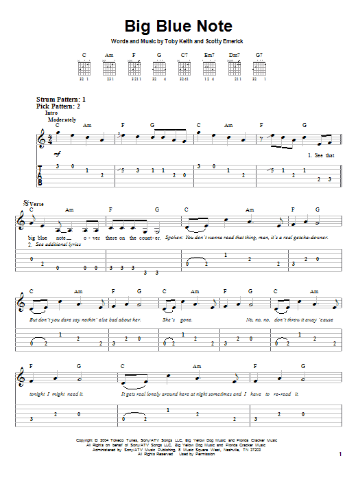 Tablature guitare Big Blue Note de Toby Keith - Tablature guitare facile