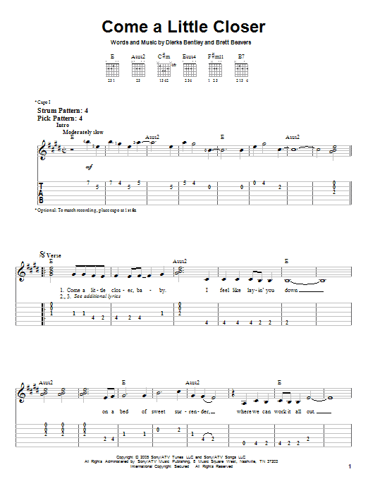 Come A Little Closer (Easy Guitar Tab)