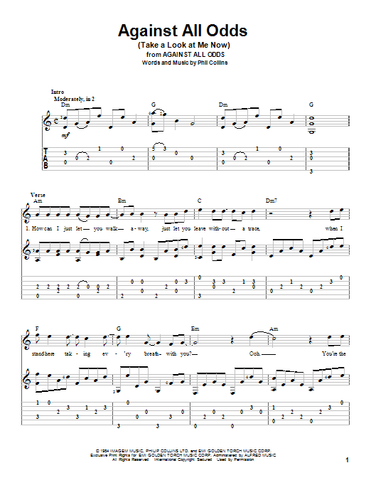 Tablature guitare Against All Odds (Take A Look At Me Now) de Phil Collins - Tablature Guitare