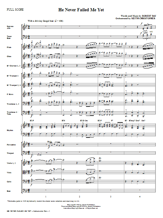 He Never Failed Me Yet (complete set of parts) sheet music for orchestra/band (Orchestra) by Keith Christopher and Robert Ray. Score Image Preview.