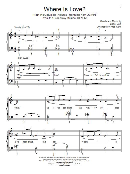 Partition piano Where Is Love? de Lionel Bart - Autre