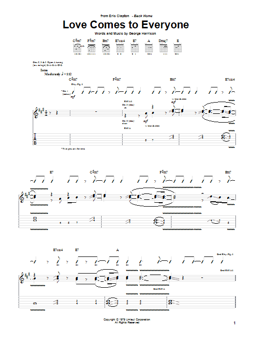 Tablature guitare Love Comes To Everyone de Eric Clapton - Tablature Guitare