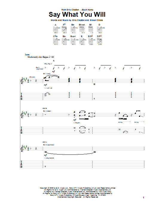 Tablature guitare Say What You Will de Eric Clapton - Tablature Guitare