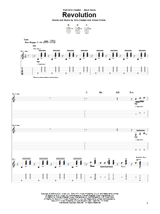 Tablature guitare Revolution de Eric Clapton - Tablature Guitare
