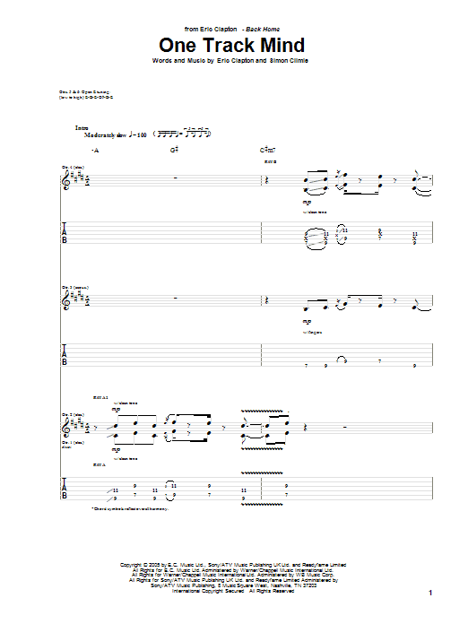 Tablature guitare One Track Mind de Eric Clapton - Tablature Guitare