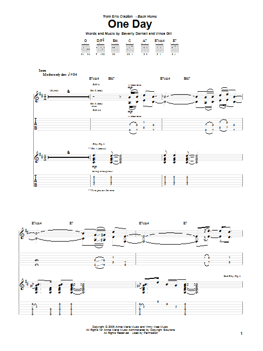 Tablature guitare One Day de Eric Clapton - Tablature Guitare