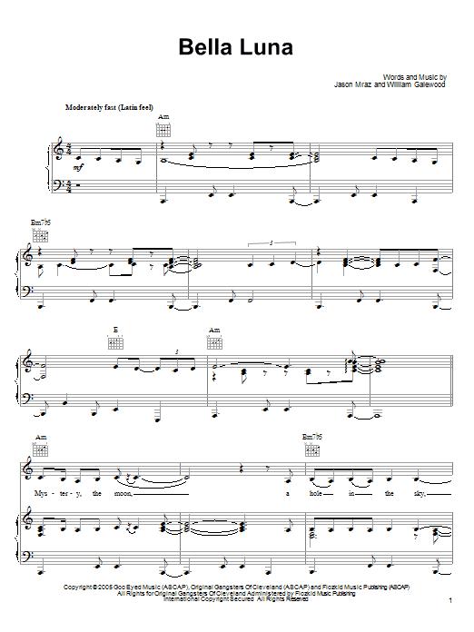 Partition piano Bella Luna de Jason Mraz - Piano Voix Guitare (Mélodie Main Droite)